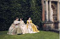 """<p>The department is comprised of multiple rooms, all loaded with gowns and shoes. It's so big and complex that costumer designer <a href=""""https://www.marieclaire.com/culture/a28610/outlander-season-three-set-visit/"""" rel=""""nofollow noopener"""" target=""""_blank"""" data-ylk=""""slk:Terry Dresbach started a digital inventory"""" class=""""link rapid-noclick-resp"""">Terry Dresbach started a digital inventory</a> system with barcodes called """"Mother"""" to keep track of everything.</p>"""