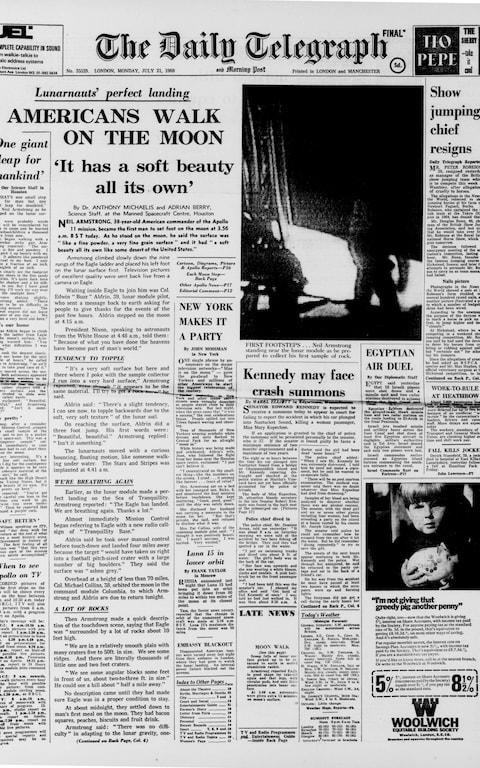 How the Daily Telegraph reported Neil Armstrong's first steps on the Moon in 1969
