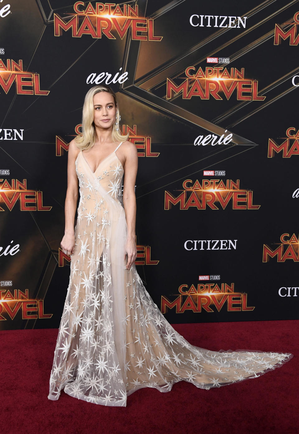 <p>The actress wore a sheer, star-printed Rodarte gown with a cascading train at the 'Captain Marvel' film premiere at the El Capitan Theatre in Los Angeles, US. <em>[Photo: Getty]</em> </p>
