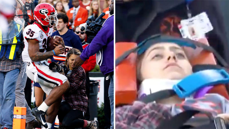 Running back Brian Herrien ran into a student photographer at an Auburn College Football match. Images: AP/Social Media)
