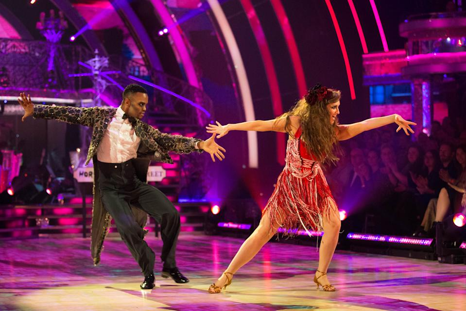 Catherine Tyldesley and Johannes Radebe's Halloween Cha Cha was their downfall (Credit: BBC)