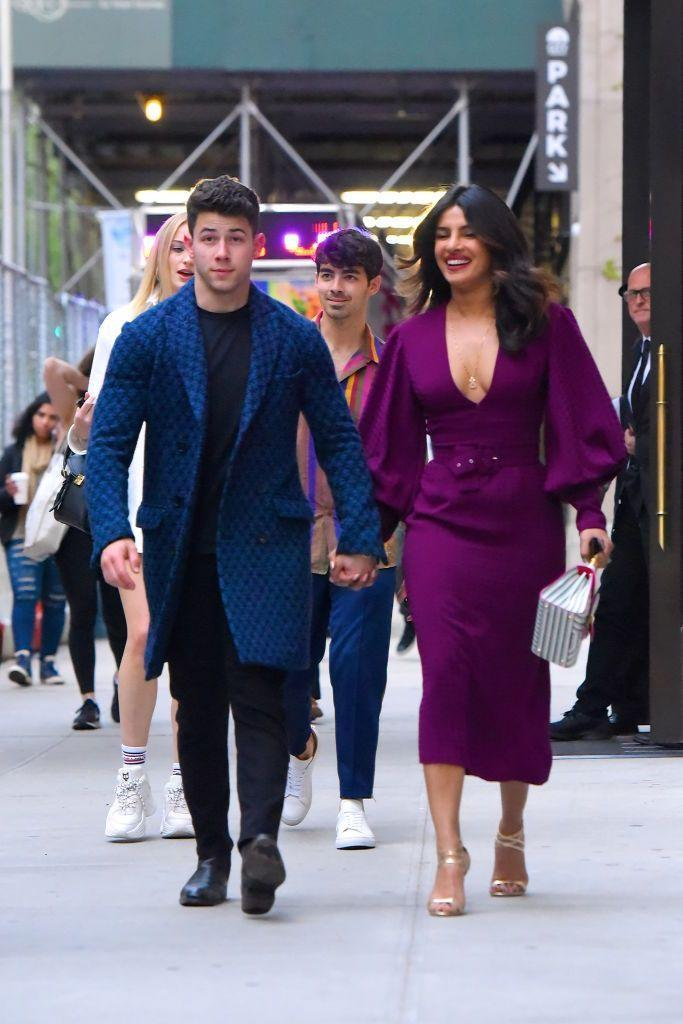 <p>Nick Jonas, Priyanka Chopra are seen on their way to meet Joe Jonas and Sophie Turner, seen out and about in Manhattan on May 10, 2019 in New York City.</p>
