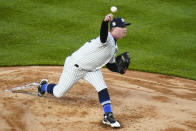 New York Yankees' Nick Nelson delivers a pitch during the first inning of the team's baseball game against the Tampa Bay Rays on Friday, April 16, 2021, in New York. (AP Photo/Frank Franklin II)