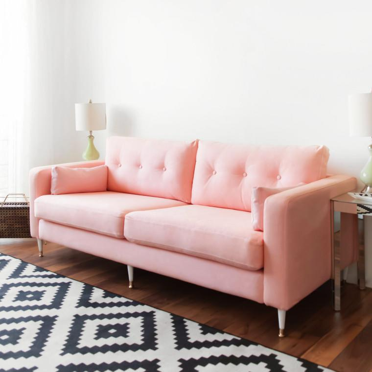 This DIY Millennial Pink Sofa Is Our Favorite IKEA Hack of All Time