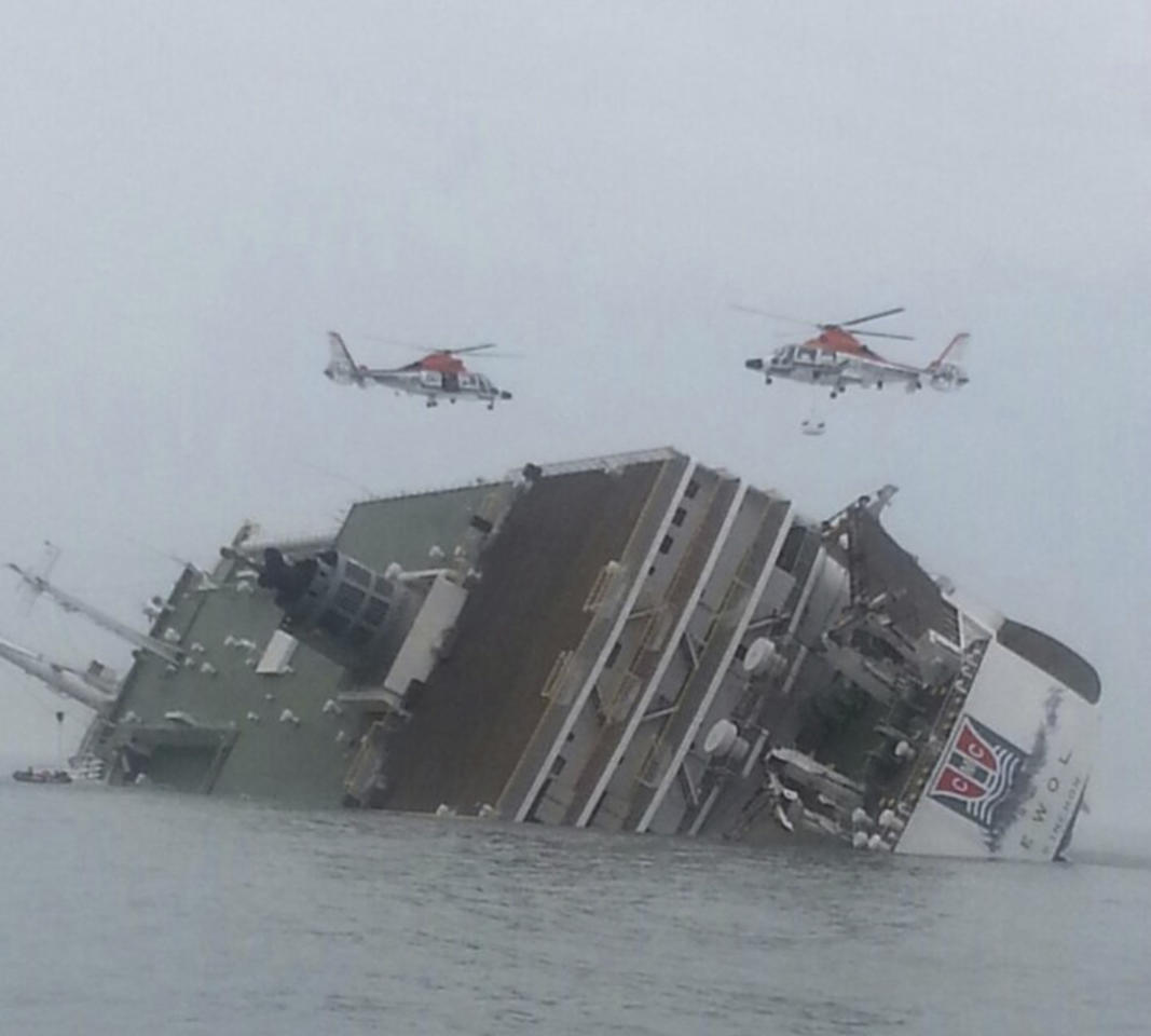 Helicopters are seen above a South Korean passenger ship that has been sinking, in the sea off Jindo