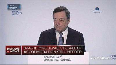 European Central Bank President Mario Draghi speaks about monetary policy in Sintra, Portugal.