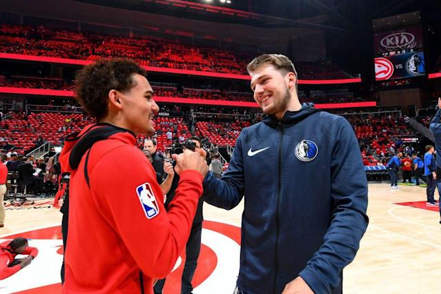 Luka Doncic and Trae Young will forever be tied together after being traded for each other on draft day. (Getty Images)