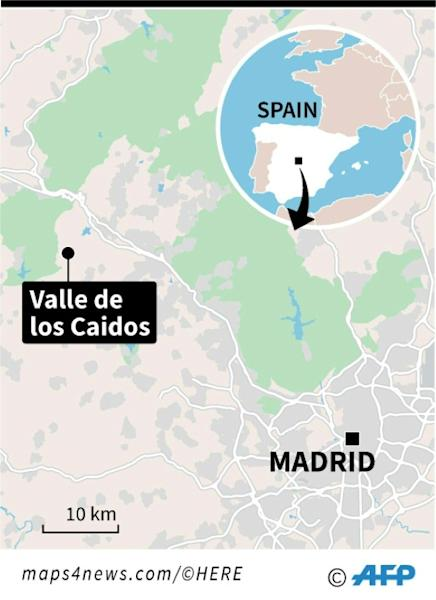 Map locating Valle de los Caidos (Valley of the Fallen) near Madrid, a large basilica holding the remains of former military dictator General Francisco Franco