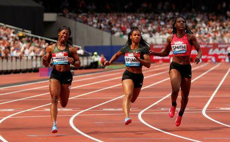Athletics - Diamond League - London Anniversary Games - The London Stadium, London, Britain - July 21, 2018 Jamaica's Shelly-Ann Fraser-Pryce wins the women's 100m final with Dezerea Bryant of the U.S. finishing second and Jamaica's Jonielle Smith in third Action Images via Reuters/Andrew Boyers