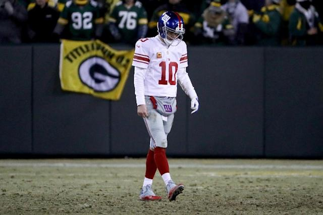 New York Giants quarterback Eli Manning denies knowingly providing fake game-used memorabilia to collectors (AFP Photo/JONATHAN DANIEL)