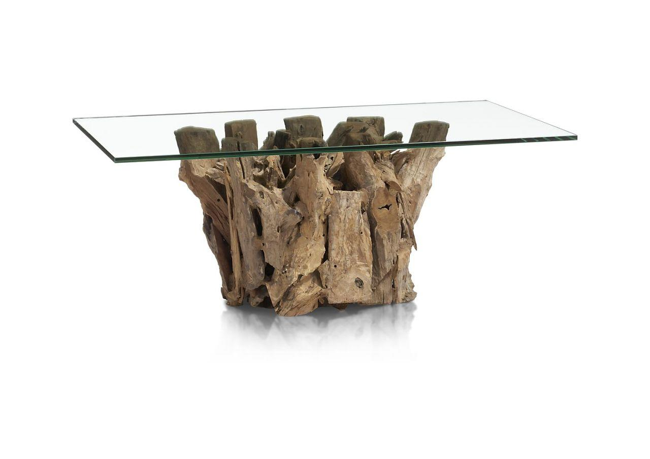 "<p>The idea here is all about creating an easy, natural vibe that doesn't feel too orchestrated. Rattan, crochet, and wood—such as the unfinished Indonesian driftwood used to create the base of this coffee table—are great at doing just that. Crate and Barrell,  <a href=""http://www.crateandbarrel.com/driftwood-coffee-table/s530603"">$699</a></p>"