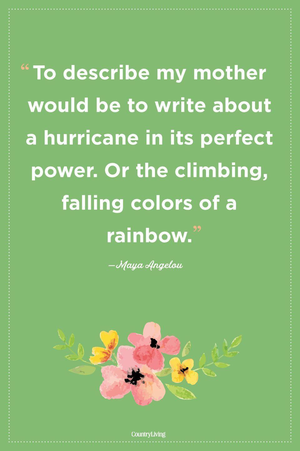 "<p>""To describe my mother would be to write about a hurricane in its perfect power. Or the climbing, falling colors of a rainbow.""</p>"
