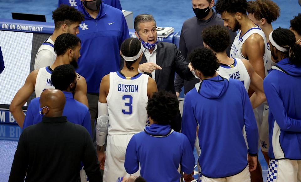 John Calipari the head coach of the Kentucky Wildcats gives instructions to his team against the Vanderbilt Commodores at Rupp Arena on January 05, 2021 in Lexington, Kentucky. (Photo by Andy Lyons/Getty Images)