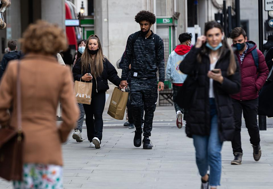 Shoppers on Oxford Street, London on Wednesday 21st April 2021.  (Photo by Tejas Sandhu/MI News/NurPhoto via Getty Images)