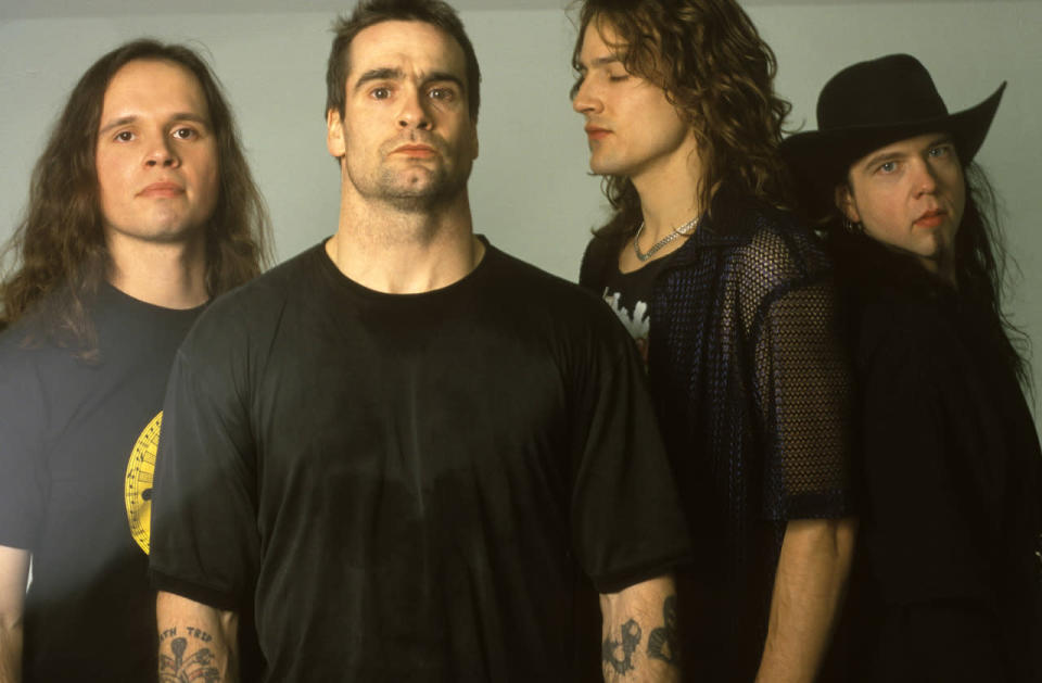 Jason Mackenroth (second from right) played drums for the Rollins Band from 1998 to 2004, released two solo albums, and was a band musician for the Blue Man Group. He died on Jan. 3 after a four-year battle with prostate cancer. He was 46. (Photo: Getty Images)