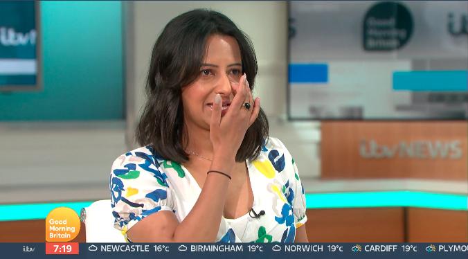 Ranvir Singh wept as she discussed the racism her son faces. (ITV)