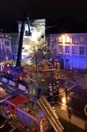 Emergency rescue personnel attend to the scene where a building has collapsed in Antwerp, Belgium January 15, 2018 in this still image taken from a social media video.   LANDRY ZOKI/via REUTERS