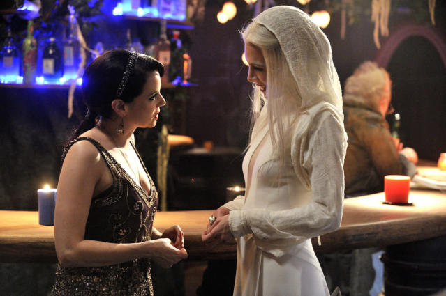 "Mia Kirshner as Kenya and Jaime Murray as Stahma Tarr in the ""Defiance"" episode, ""Good Bye Blue Sky."""