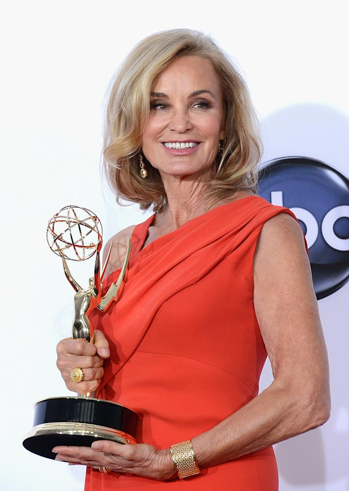 """Jessica Lange, winner Outstanding Supporting Actress in a Miniseries or a Movie award for """"American Horror Story,"""" poses in the press room at the 64th Primetime Emmy Awards at the Nokia Theatre in Los Angeles on September 23, 2012."""