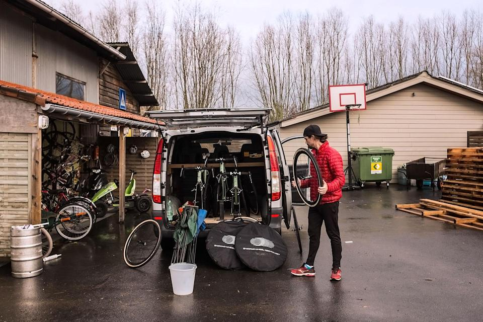 Andrew Juiliano - Namur World Cup bound, but first, stuff all the bikes and wheels into the back of the work van in Oudenaarde, Belgium.