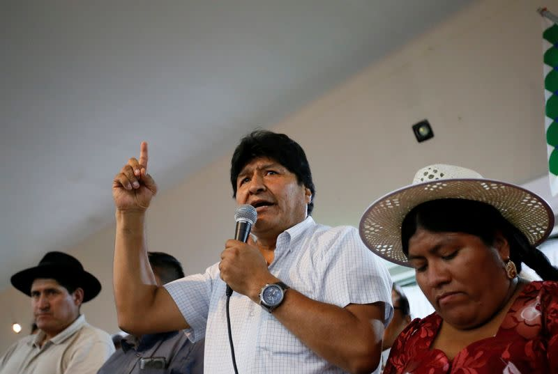 Former Bolivian President Evo Morales speaks during a news conference in Buenos Aires