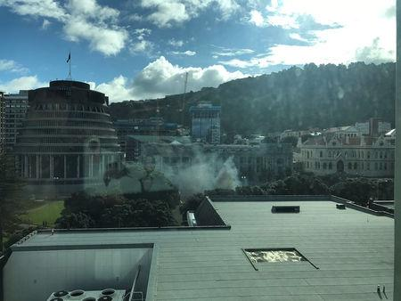 Smoke is rising near the parliament building in Wellington, New Zealand, September 21, 2017 in this social media picture.  TWITTER Ô@PIPSSQUEAKSÕ via REUTERS