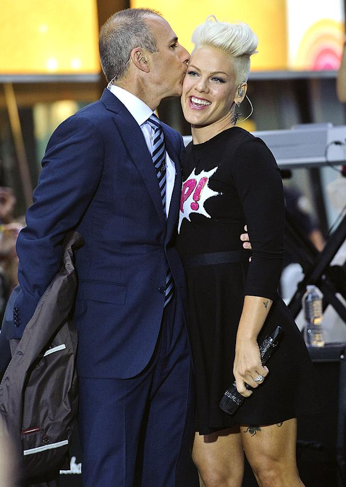 "<p class=""MsoNormal"">Meanwhile, ""Today"" show anchor Matt Lauer and pop star Pink were snapped in a more appropriate pose when the singer stopped by the morning show on Tuesday to sing a few tunes from her new album. Matt was clearly impressed! (9/18/2012) <span></span></p>"