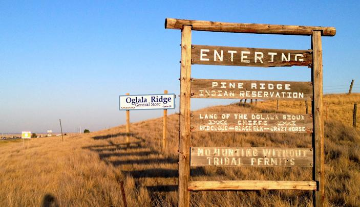 The entrance to the Pine Ridge Indian Reservation in South Dakota.