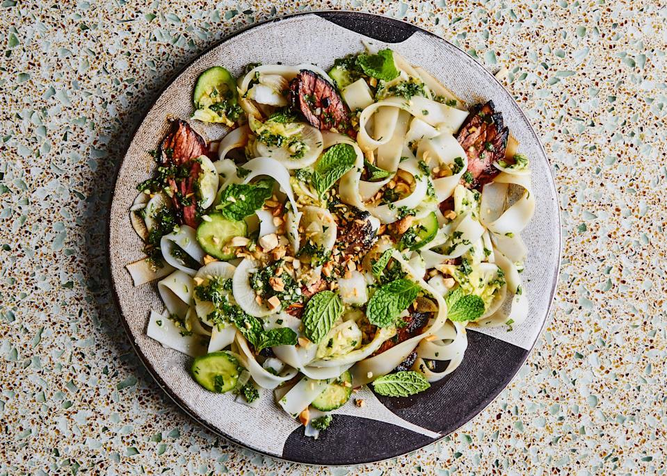 "This salad recipe hits all the flavors we crave in a weeknight dinner: a hit of spice from the chiles, heartiness from the beef, crispy crunch from fresh veg, and even a bit of sweetness from the honey. We highly endorse cooking off extra rice noodles to keep on hand for low-maintenance stir-fries and soups for later in the week. <a href=""https://www.bonappetit.com/recipe/weeknight-steak-and-rice-noodle-salad?mbid=synd_yahoo_rss"" rel=""nofollow noopener"" target=""_blank"" data-ylk=""slk:See recipe."" class=""link rapid-noclick-resp"">See recipe.</a>"