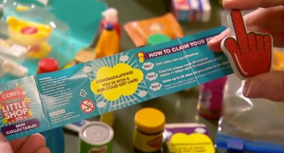 The Coles Little Shop red hand collectable comes with a $100 gift voucher. Source: 7 News