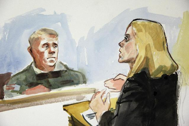 In this detail from a courtroom sketch, Emma Scanlan, right, the civilian attorney for U.S. Army Staff Sgt. Robert Bales, makes her closing statements to Investigating Officer Col. Lee Deneke, left, Tuesday, Nov. 13, 2012 on the final day of a preliminary hearing for Bales at Joint Base Lewis McChord in Washington state. Bales is accused of 16 counts of premeditated murder and six counts of attempted murder for a pre-dawn attack on two villages in Kandahar Province in Afghanistan in March, 2012. (AP Photo/Lois Silver)