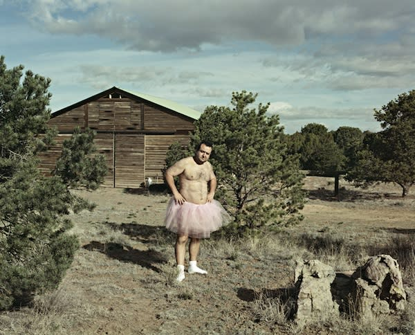 "<div class=""caption-credit""> Photo by: Bob Carey</div><div class=""caption-title"">Barn</div>Carey's first ""self-portrait in tutu"" was taken on April 18, 2003 near Santa Fe, New Mexico."