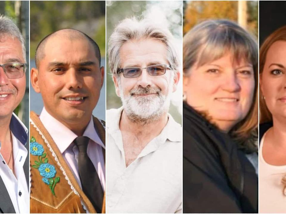 From left to right, MP Michael McLeod of the Liberal party, Kelvin Kotchilea of the NDP, Roland Laufer of the Green party, Jane Groenwegen as an independent and Lea Mollison of the Conservative party put their names forward to be the N.W.T.'s MP. (Michael McLeod/Facebook, Submitted by Kelvin Kotchilea, Roland Laufer/Facebook, Submitted by Jane Groenewegen, Submitted by Matthew Lakusta - image credit)