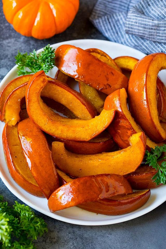 "<p>Sweet and savory, roasted pumpkin slices are the ideal appetizer and side dish for fall and winter meals. Cooked with brown sugar, maple syrup, and cinnamon, they'll have everyone drooling in no time. Stick toothpicks in them so guests can have easy access to each slice.</p> <p><strong>Get the recipe:</strong> <a href=""https://www.dinneratthezoo.com/roasted-pumpkin-recipe/?utm_source=feedburner&amp;utm_medium=feed&amp;utm_campaign=Feed%3A+dinneratthezoo+%28Dinner+at+the+Zoo%29"" target=""_blank"" class=""ga-track"" data-ga-category=""internal click"" data-ga-label=""https://www.dinneratthezoo.com/roasted-pumpkin-recipe/?utm_source=feedburner&amp;utm_medium=feed&amp;utm_campaign=Feed%3A+dinneratthezoo+%28Dinner+at+the+Zoo%29"" data-ga-action=""body text link"">roasted pumpkin</a></p>"