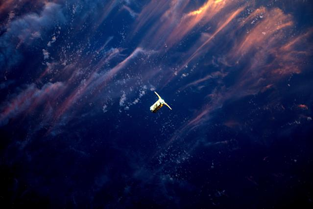 <p>Expedition 51 Flight Engineer Thomas Pesquet of the European Space Agency photographed Orbital ATK's Cygnus spacecraft as it approached the International Space Station, April 22, 2017. Using the station's robotic Canadarm2, Cygnus was successfully captured by Pesquet and Commander Peggy Whitson at 6:05 a.m. EDT. The spacecraft's arrival brought more than 7,600 pounds of research and supplies to support Expedition 51 and 52. (Photo: NASA/ESA/Handout via Reuters) </p>