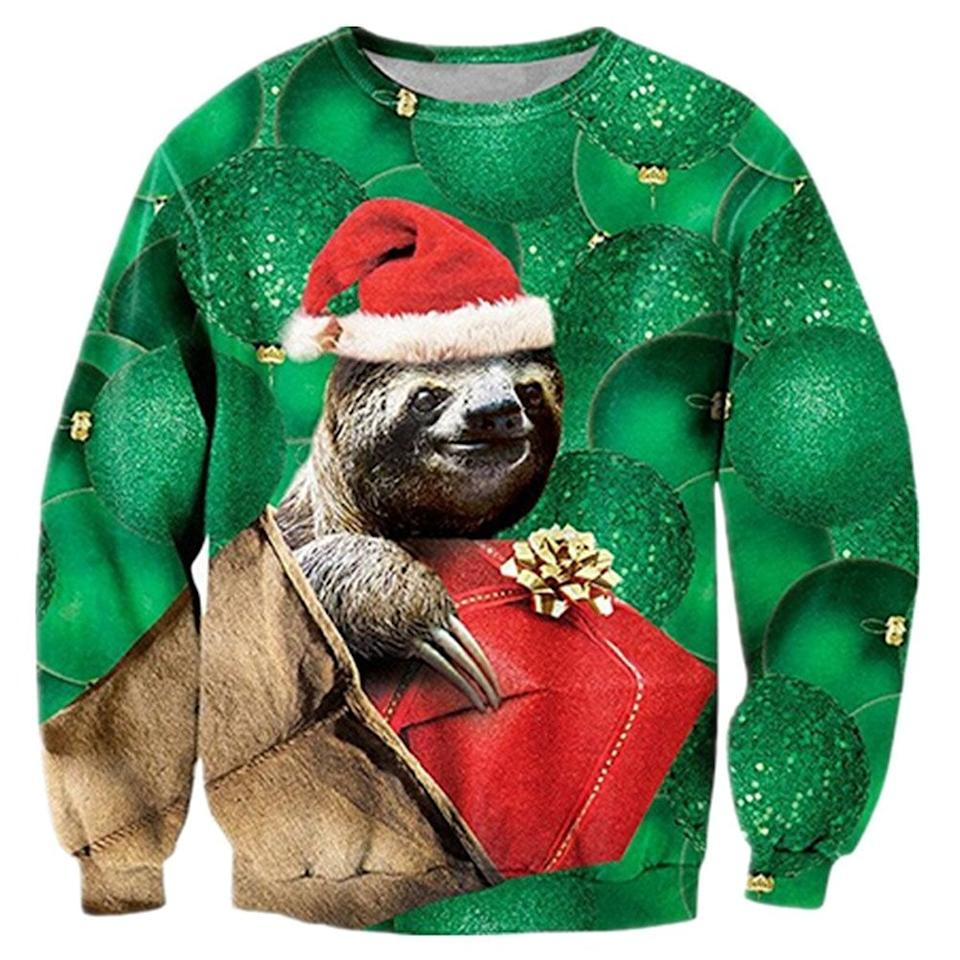 """<p>If you love sloths, you clearly need this <a href=""""https://www.popsugar.com/buy/Raisevern-Ugly-Christmas-Sweater-105132?p_name=Raisevern%20Ugly%20Christmas%20Sweater&retailer=amazon.com&pid=105132&price=28&evar1=savvy%3Auk&evar9=45317349&evar98=https%3A%2F%2Fwww.popsugar.com%2Fsmart-living%2Fphoto-gallery%2F45317349%2Fimage%2F45317569%2FRaisevern-Ugly-Christmas-Sweater&list1=shopping%2Cgifts%2Camazon%2Csweaters%2Choliday%2Chumor%2Cgift%20guide%2Cwhite%20elephant%20gifts%2Choliday%20fashion&prop13=api&pdata=1"""" rel=""""nofollow"""" data-shoppable-link=""""1"""" target=""""_blank"""" class=""""ga-track"""" data-ga-category=""""Related"""" data-ga-label=""""https://www.amazon.com/RAISEVERN-Unisex-Christmas-Sweater-Sweatshirt/dp/B075VMH349/ref=sr_1_48?s=apparel&amp;ie=UTF8&amp;qid=1509744114&amp;sr=1-48&amp;nodeID=7141123011&amp;psd=1&amp;keywords=christmas%2Bsweater&amp;refinements=p_36%3A-2200&amp;th=1"""" data-ga-action=""""In-Line Links"""">Raisevern Ugly Christmas Sweater</a> ($28).</p>"""