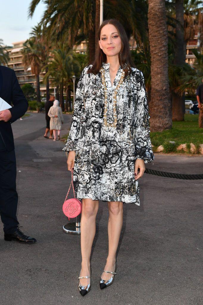 <p>The French star wore a patterned dress to Chanel's dinner in Cannes. </p>