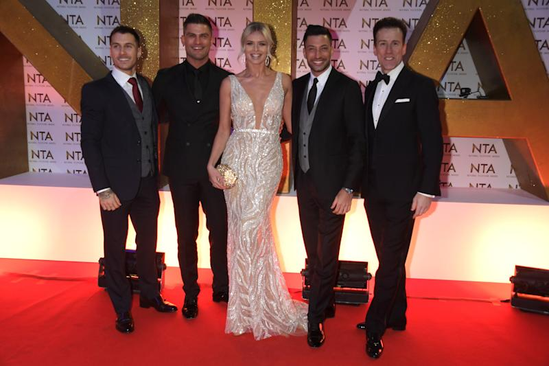 LONDON, ENGLAND - JANUARY 28: (L to R) Gorka Marquez, Aljaz Skorjanec, Nadiya Bychkova, Giovanni Pernice and Anton du Beke attend the National Television Awards 2020 at The O2 Arena on January 28, 2020 in London, England. (Photo by David M. Benett/Dave Benett/Getty Images)