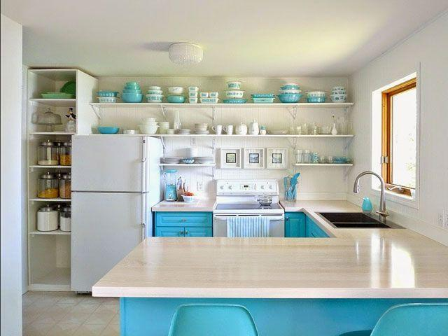 "<p>This clever blogger traded upper cabinets for open shelving and painted her lower ones a turquoise blue to match her stunning dishware collection.</p><p><a href=""http://www.danslelakehouse.com/2014/06/the-big-kitchen-reveal.html"" rel=""nofollow noopener"" target=""_blank"" data-ylk=""slk:See more at Dans Le Lakehou »"" class=""link rapid-noclick-resp""><em>See more at Dans Le Lakehou »</em></a></p>"