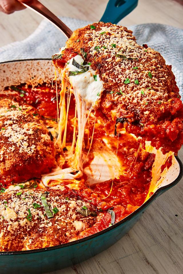 """<p>How STUNNING is that cheese pull? 😍</p><p>Get the recipe from <a href=""""https://www.delish.com/cooking/recipe-ideas/recipes/a57643/mozzarella-stuffed-chicken-parm-recipe/"""" target=""""_blank"""">Delish.</a></p>"""