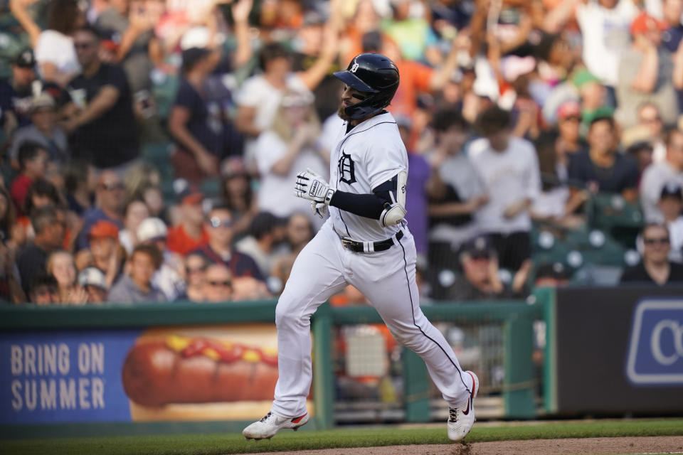 Detroit Tigers' Eric Haase rounds the bases after a solo home run during the fourth inning of a baseball game against the Baltimore Orioles, Saturday, July 31, 2021, in Detroit. (AP Photo/Carlos Osorio)