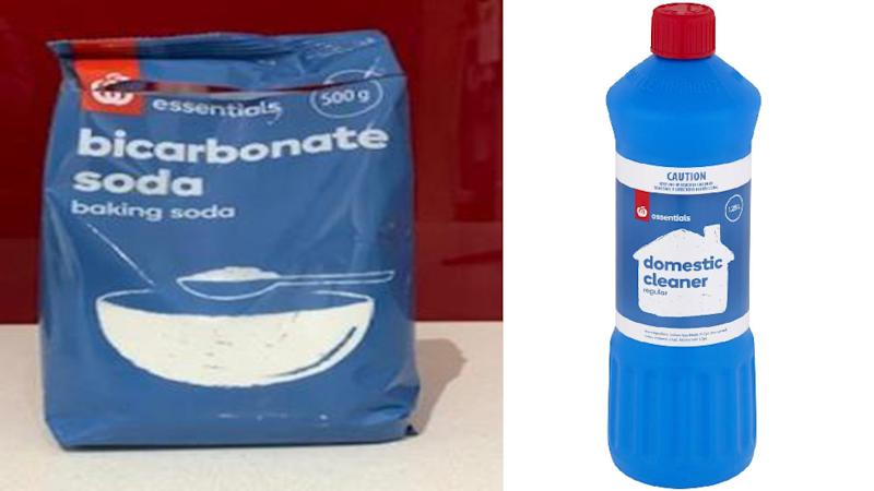 Image of homebrand Woolies bicarbonate soda and domestic bleach cleaner