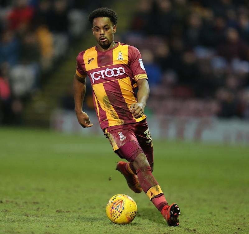 BRADFORD, ENGLAND - JANUARY 13: Tyrell Robinson of Bradford City in action during the Sky Bet League One match between Bradford City and Northampton Town at Northern Commercials Stadium, Valley Parade on January 13, 2018 in Bradford, England. (Photo by Pete Norton/Getty Images)