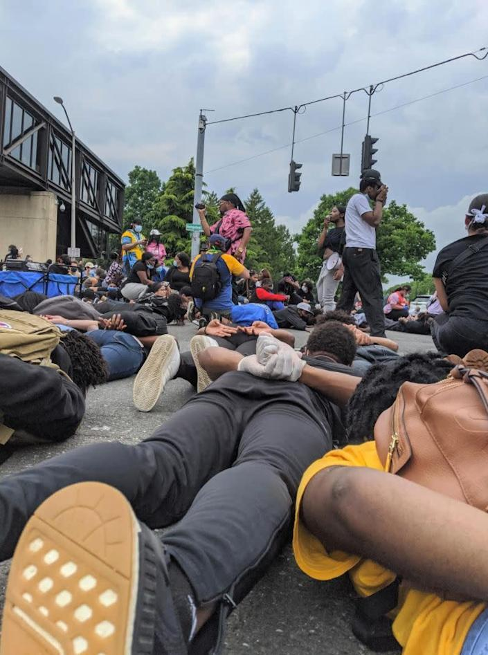 A photo taken by the author on the ground during an 8-minute silence for George Floyd at a protest that took place in Hempstead, New York on June 5, 2020. (Photo: Courtesy of Jacqueline Dyre)