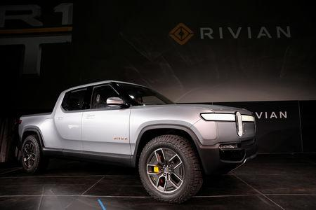 FILE PHOTO: Rivian introduces R1T all-electric pickup truck at Los Angeles Auto Show in Los Angeles, California, U.S. November 27, 2018.  REUTERS/Mike Blake