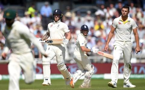 Ben Stokes and Jonathan Bairstow of England score runs from the bowling of Josh Hazlewood of Australia during day four of the 3rd Specsavers Ashes Test match between England and Australia at Headingley - Credit: Getty Images