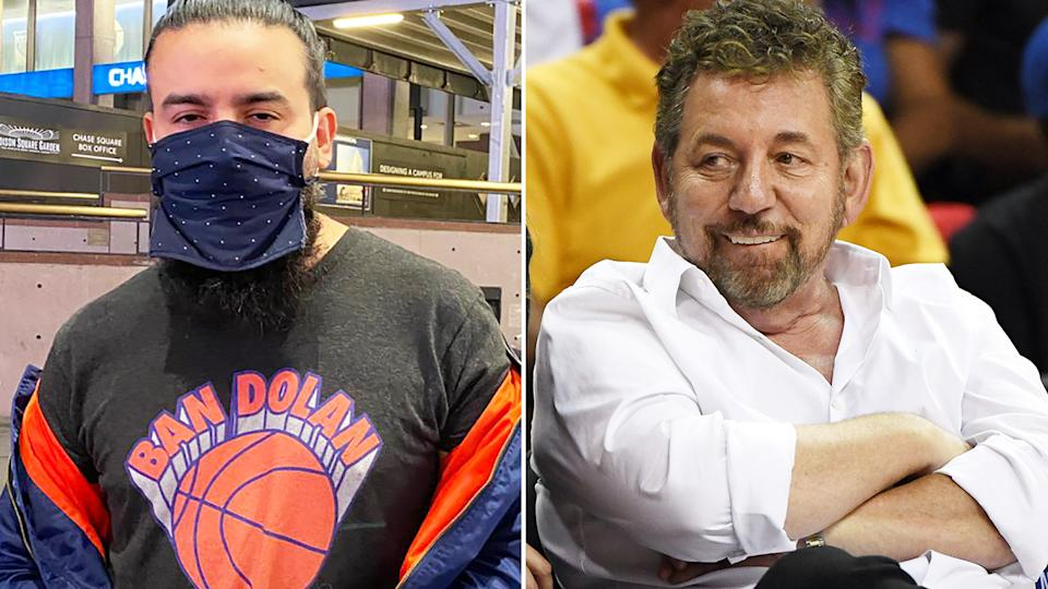 A New York Knicks fan was ejected from a recent NBA game at Madison Square Garden for wearing a shirt which said 'Ban Dolan' - referring to Knicks owner James Dolan. Pictures: Twitter/Getty Images