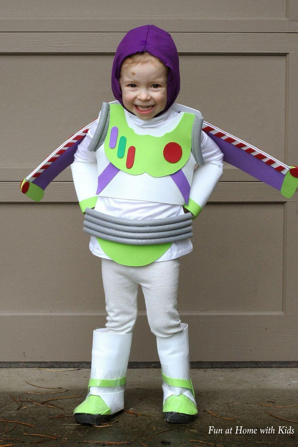 """<p>Kids will want to wear this spaceman costume from Disney's <em>Toy Story</em> for infinity...and beyond!</p><p><strong>Get the tutorial at <a href=""""http://www.funathomewithkids.com/2013/09/diy-kids-buzz-lightyear-no-sew.html"""" rel=""""nofollow noopener"""" target=""""_blank"""" data-ylk=""""slk:Fun at Home with Kids"""" class=""""link rapid-noclick-resp"""">Fun at Home with Kids</a>.</strong><br> </p>"""