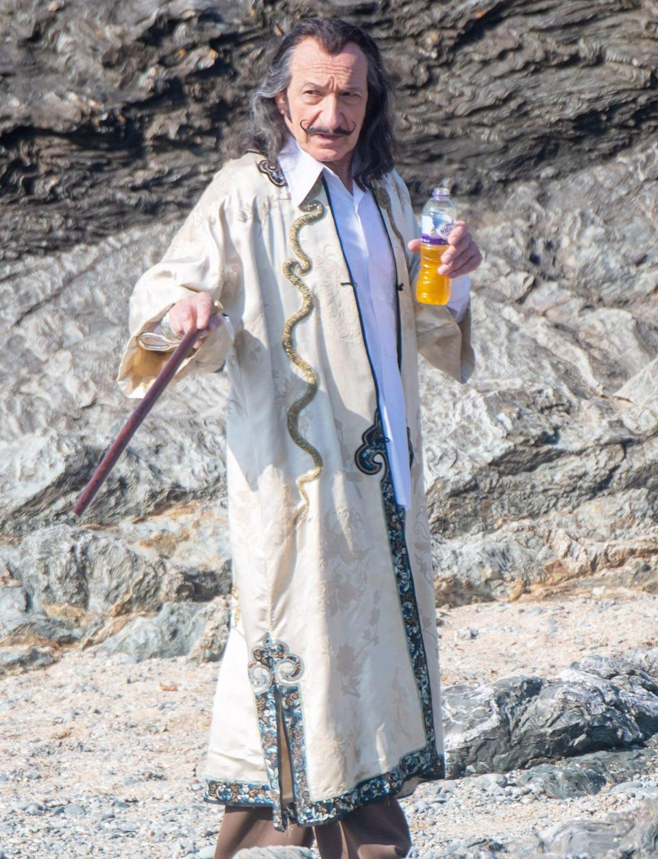 <p>Ben Kingsley is seen for the first time as Salvador Dali on the set of <em>Dali Land</em> on Friday in Anglesey, Wales.</p>