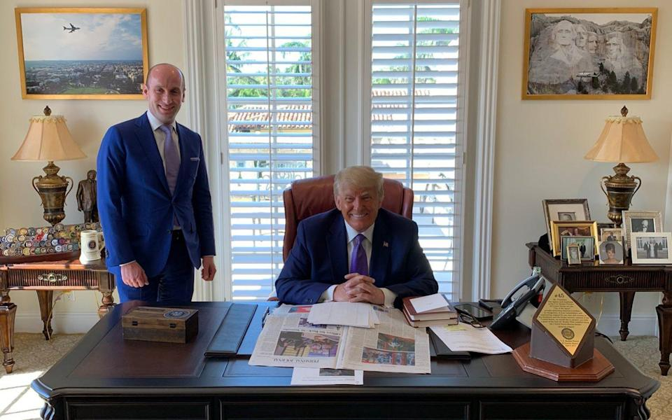Donald Trump and Stephen Miller in the former's Mar-a-Lago office - Instagram /@StephenM